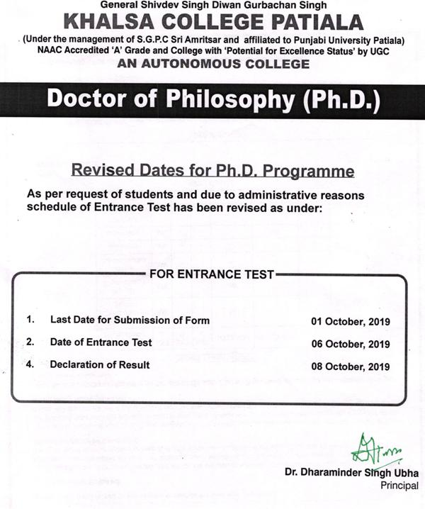 Phd dates revised